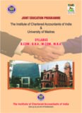 The Institute of Chartered Accountants of India & University of Madras B.COM., BBA, M.COM., MBA ...