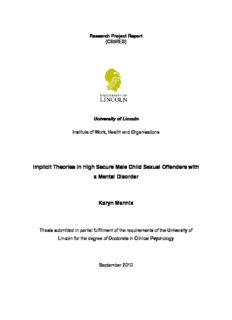 Implicit Theories in High Secure Male Child Sexual Offenders with a Mental Disorder Karyn Mannix