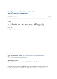 Rudolph Fisher : An Annotated Bibliography