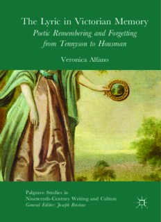 The Lyric in Victorian Memory: Poetic Remembering and Forgetting from Tennyson to Housman
