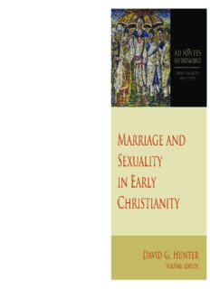 Marriage and Sexuality in Early Christianity  Ad Fontes: Early Christian Sources