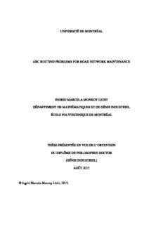 université de montréal arc routing problems for road network maintenance ingrid marcela monroy ...