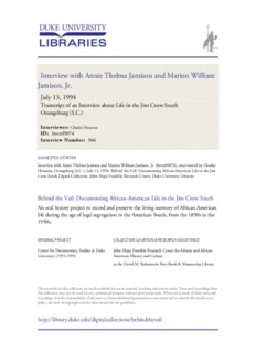 Interview with Annie Thelma Jamison and Marion William Jamison, Jr.