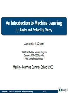 An Introduction to Machine Learning - Machine Learning Summer
