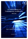 A Critical History of Contemporary Architecture, 1960-2010. Edited by Elie G. Haddad with David