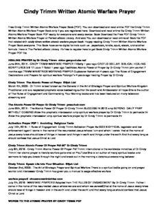 Cindy Trimm Written Atomic Warfare Prayer PDF