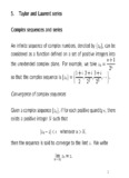 5. Taylor and Laurent series Complex sequences and series An