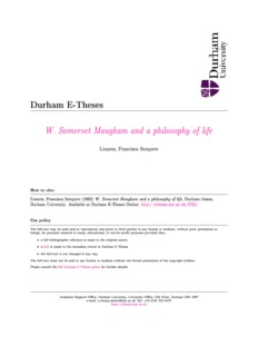 Durham E-Theses W. Somerset Maugham and a philosophy of life