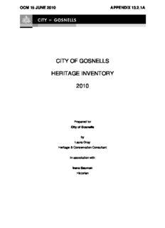 city of gosnells heritage inventory 2010