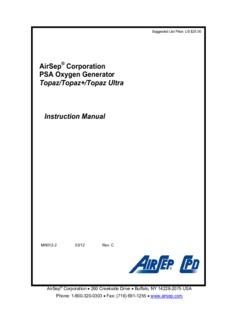 AirSep Corporation PSA Oxygen Generator Topaz/Topaz+/Topaz Ultra Instruction Manual