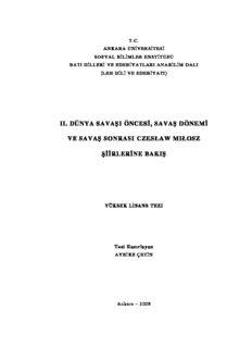 ıı. dünya savaşı öncesi, savaş dönemi ve savaş sonrası czesław mıłosz şiirlerine bakış