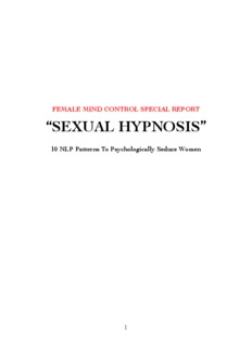 "FEMALE MIND CONTROL SPECIAL REPORT ""SEXUAL HYPNOSIS"""