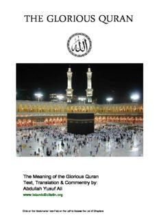 English Translation of The Noble Quran by Yusuf Ali