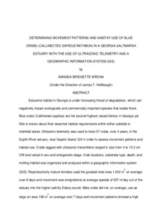 Wrona, A.B. 2004. Determining movement patterns and habitat use of blue crabs