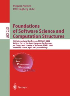 Foundations of Software Science and Computation Structures: 5th International Conference, FOSSACS 2002 Held as Part of the Joint European Conferences on Theory and Practice of Software, ETAPS 2002 Grenoble, France, April 8–12, 2002 Proceedings