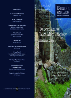To Learn and to Teach More Effectively - Religious Studies Center