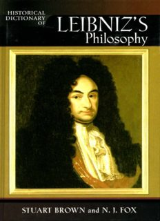 Historical Dictionary of Leibniz's Philosophy (Historical Dictionaries of Religions, Philosophies and Movements)