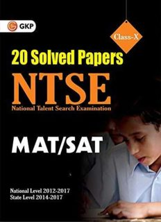 NTSE 20 Solved Papers SAT MAT National Level 2012-2017 State Level 2014-2017 G K Publications