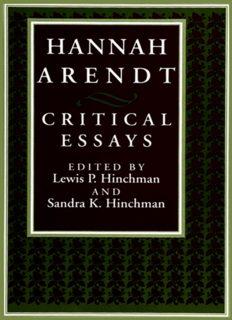 Hannah Arendt: Critical Essays