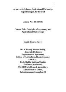 AGRO 101 Principles of Agronomy - acharya ng ranga agricultural
