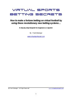Virtual Sports Betting Secrets