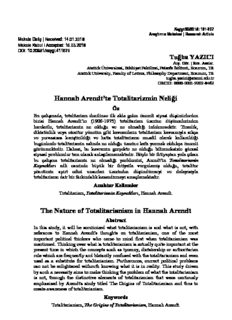 Hannah Arendt'te Totalitarizmin Neliği The Nature of Totalitarianism in Hannah Arendt