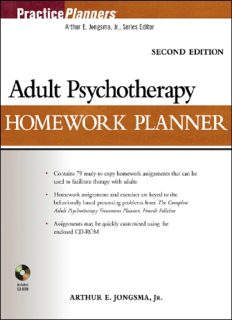Adult Psychotherapy Homework Planner 2nd Edition (Practice Planners)