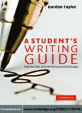 A Student's Writing Guide: How to Plan and Write Successful Essays