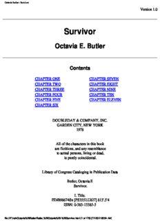 Butler, Octavia - Survivor