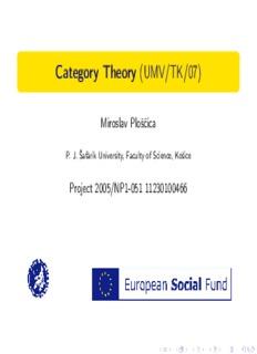 Category Theory (UMV/TK/07) - Miroslav Ploščica