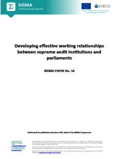 Developing effective working relationships between supreme audit institutions and parliaments