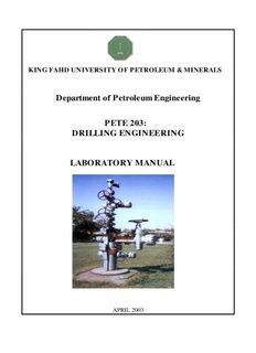 Department of Petroleum Engineering PETE 203: DRILLING ENGINEERING