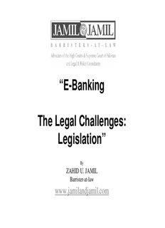 E-Banking The Legal Challenges: Legislation (PDF) - Jamil and Jamil