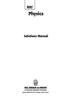 Holt Physics Solutions