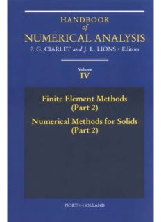 Handbook Of Numerical Analysis Volume IV - Finite Element Methods (Part 2) – Numerical Methods for Solids (Part 2) - Elsevier North-Holland