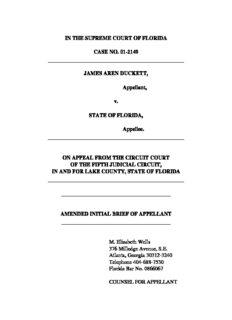 IN THE SUPREME COURT OF FLORIDA CASE NO. 01-2149 JAMES AREN DUCKETT, Appellant ...