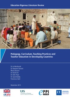 Pedagogy, Curriculum, Teaching Practices and Teacher Education in Developing Countries