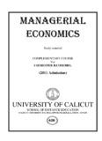 Managerial Economics - University of Calicut