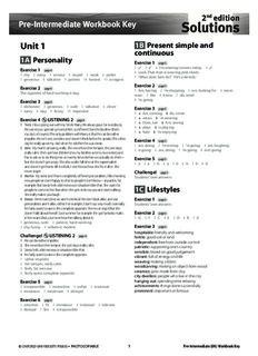 2nd edition Pre-Intermediate Workbook Key