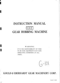 instruction manual gear hobbing machine