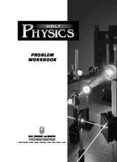 Holt Physics : Problem Workbook with Answers