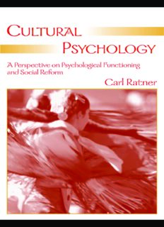 Cultural Psychology: A Perspective on Psychological Functioning And Social Reform