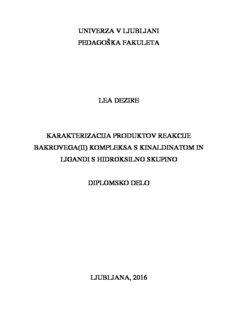 univerza v ljubljani pedagoška fakuleta lea dezire karakterizacija produktov reakcije bakrovega(ii)