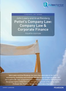 Pettet, Lowry & Reisberg's company law : company and corporate finance law.