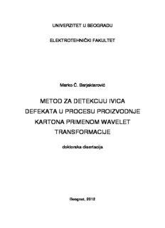 metod za detekciju ivica defekata u procesu proizvodnje kartona primenom wavelet transformacije