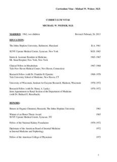 Curriculum Vitae - Michael W. Weiner, M.D CURRICULUM VITAE