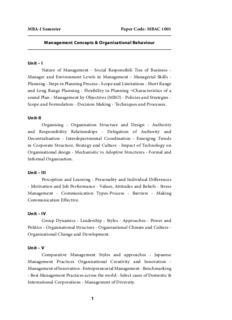 Management Concepts & Organisational Behaviour Unit – I