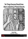 Ten Things Everyone Should Know About Lockpicking - Black Hat