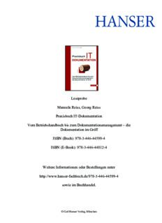 Leseprobe Manuela Reiss, Georg Reiss Praxisbuch IT-Dokumentation Vom Betriebshandbuch bis