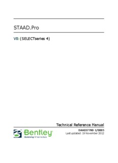 STAAD.Pro V8i Technical Reference Manual - Bentley Communities